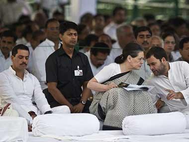 Sonia Gandhi with Rahul Gandhi and Robert Vadra in this file photo. AFP