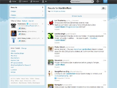 A screengrab of the Twitter page.