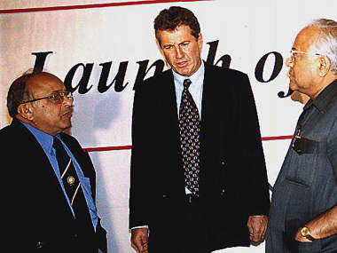 JAYWANT LELE AND BCCI PRESIDENT A.C.MUTHIAH FLANK THE INDIAN CRICKET TEAMS FIRST EVER FOREIGN COACH ...