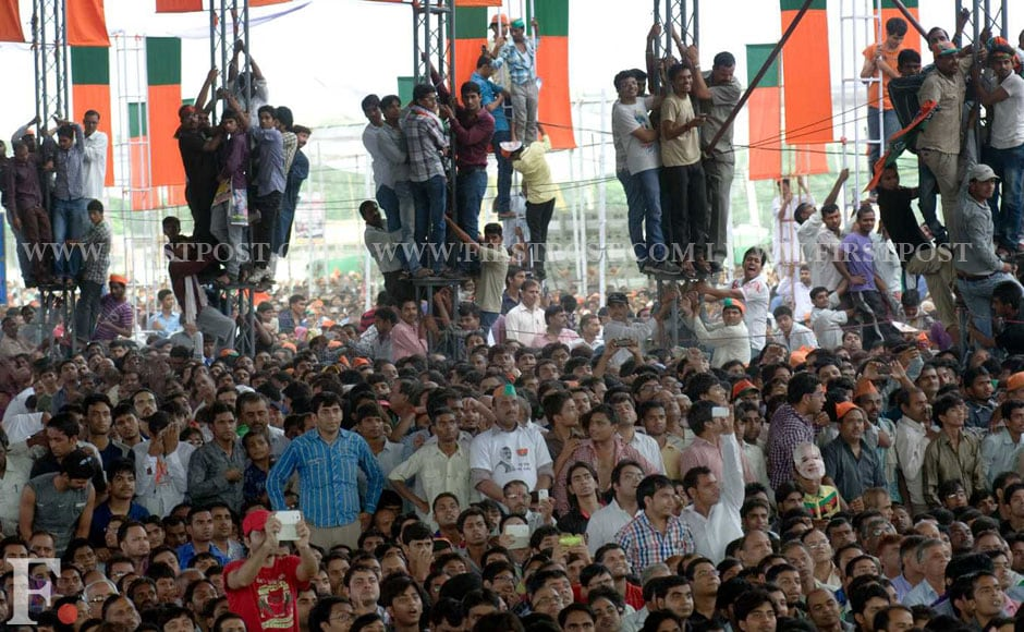 Modi's rally drew a massive crowd whose cheers had to be stopped by Modi several times during his speech. Naresh Sharma/Firstpost.