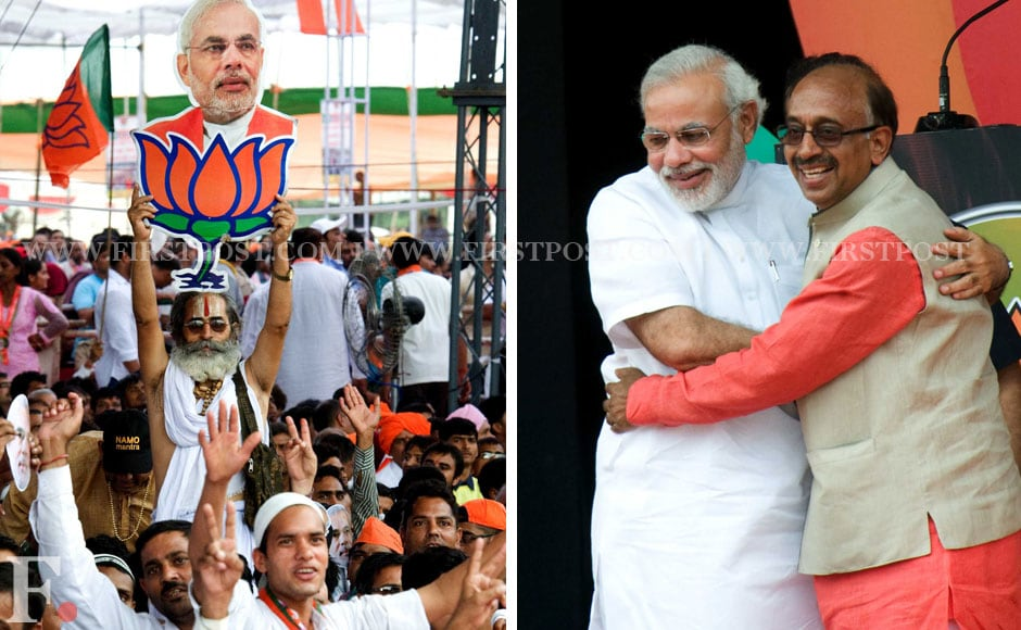 BJP invited diplomats and ex-servicement for the rally as well. Seen here is Modi with Vijay Goel. Naresh Sharma/Firstpost.