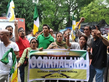 File image of GJM supporters demanding a separate Gorkhaland. AFP.
