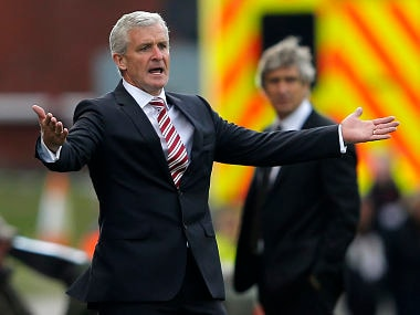 File photo of Stoke City manager Mark Hughes. Reuters