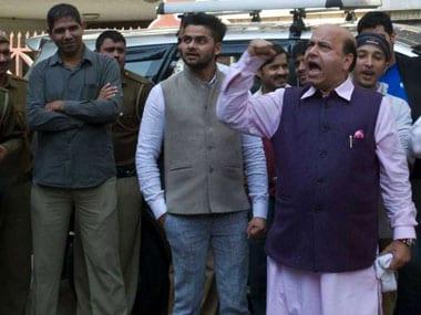 Vijay Jolly in front of Shoma Chaudhury's house. Naresh Sharma/Firstpost