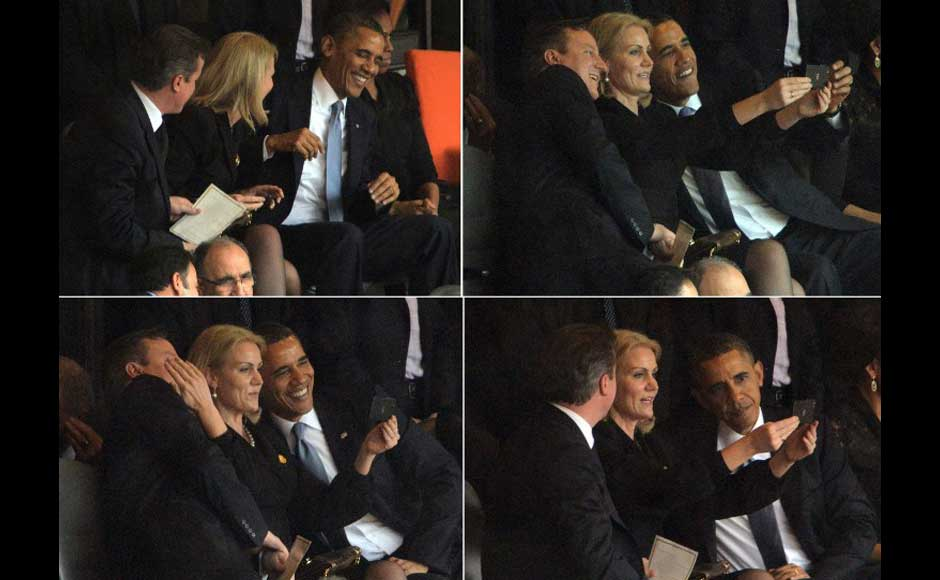 This combo of pictures shows US President Barack Obama (R) and British Prime Minister David Cameron (L) posing for a photo with Denmark's Prime Minister Helle Thorning Schmidt (C) during the memorial service of South African former president Nelson Mandela at the FNB Stadium (Soccer City) in Johannesburg on December 10, 2013. AFP