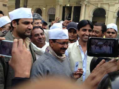 Arvind Kejriwal goes out to vote during the Delhi election. Shruti Dhapola/Firstpost