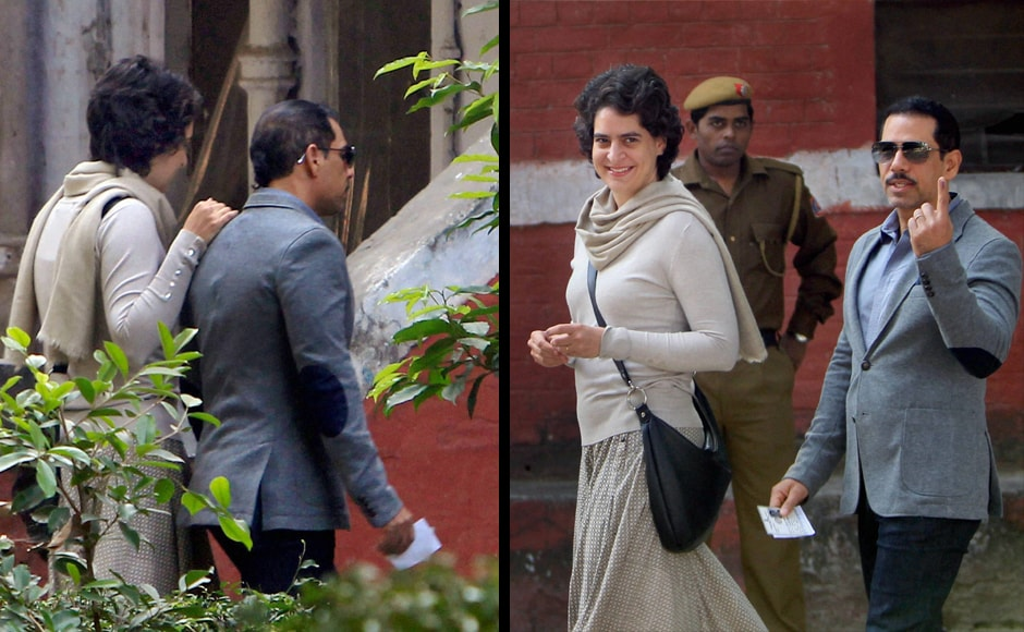 Priyanka Vadra and her husband Robert on their way to cast their vote (left) and after casting their votes in the Delhi Assembly elections at a polling booth in New Delhi on Wednesday. PTI