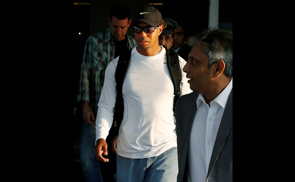 Golfer Tiger Woods arrives at the Indira Gandhi International airport in New Delhi on Monday. PTI