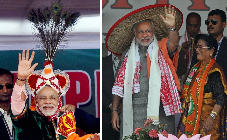 "Narendra Modi waves at crowd at a public meeting in Imphal.  Narendra Modi, wearing Assamese japi' waves at the crowd during the ""Mahajagaran Rally"" in Guwahati. PTI"