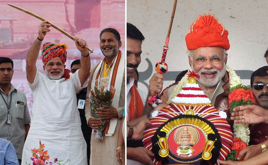 "(L) Narendra Modi, raises a sword at a Bharatiya Janata Party (BJP) rally at Rewari, in Haryana. (R) Narendra Modi being felicitated by party's workers at ""Bharatha Gellisi"" rally in Mangalore , Karnataka. PTI"