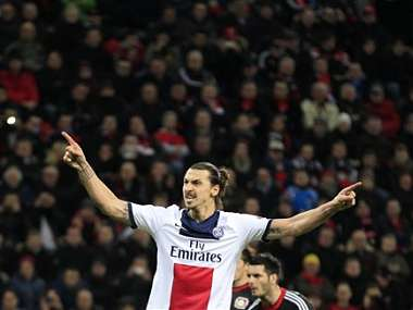 PSG's Zlatan Ibrahimovic celebrates after scoring during a Champions League round of the last 16 first leg soccer match between Bayer Leverkusen and Paris Saint-Germain. AP