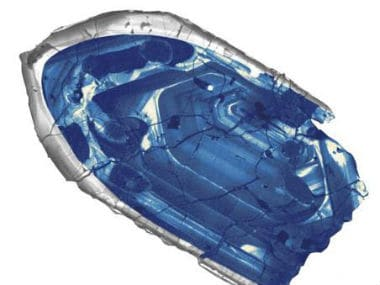 A 4.4 billion-year-old zircon crystal from the Jack Hills region of Australia is pictured in this undated handout photo obtained by Reuters.