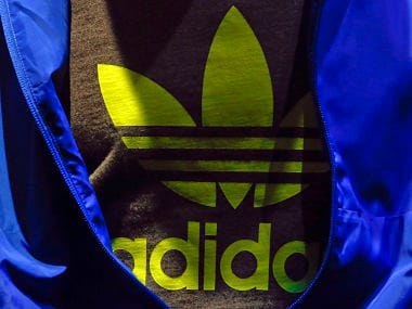 The Adidas logo is pictured on a shirt during the company's annual news conference. Reuters
