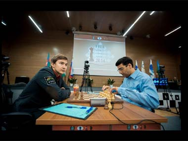 Viswanathan Anand and Dmitry Andreikin. FIDE.com
