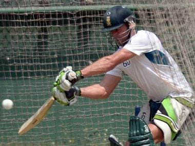South Africa cricketer AB de Villiers plays a shot in nets at a training session during the ICC World Twenty20 tournament in The Sher-e-Bangla National Cricket Stadium in Dhaka. AFP