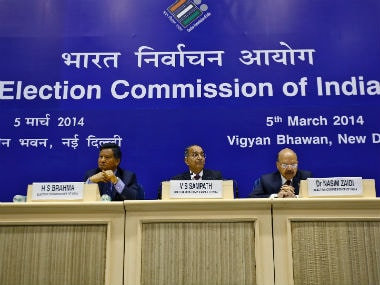 Chief Election Commissioner V.S. Sampath (C) during a press conference. Reuters