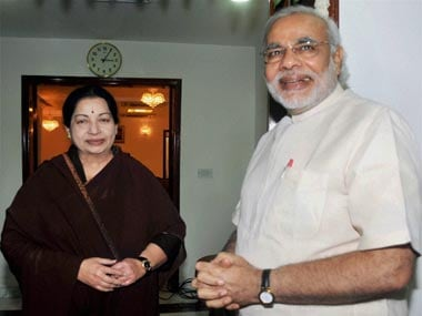 Narendra Modi and Jayalalithaa in this file photo. PTI