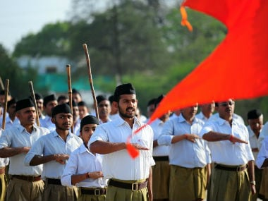 Indian members of the Hindu Nationalist Rashtriya Swayamsevak Sangh (RSS) march. AFP