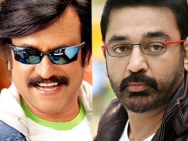 File images of Tamil cinema superstars Rajnikanth and Kamal Haasan. Courtesy: ibn live