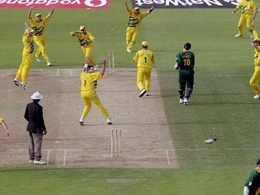 Allan Donald of South Africa is run out and Australia go through to the World Cup final after a dramatic semi-final at Edgbaston in Birmingham, England. The match finished a tie and Australia went through after finishing higher in the SuperSix table. Getty Images