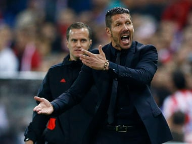 Atletico Madrid's coach Diego Simeone reacts during his team's Champions League semi-final first leg soccer match against Chelsea at Vicente Celderon Stadium in Madrid, April 22, 2014. Reuters