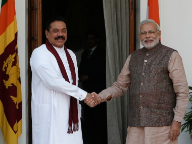 PM Narendra Modi with Mahinda Rajapaksa. Reuters