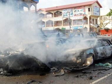 A blast in Nigeria last year. AFP