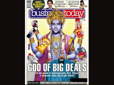 An illustration of Dhoni as Vishnu on the Business Today cover.