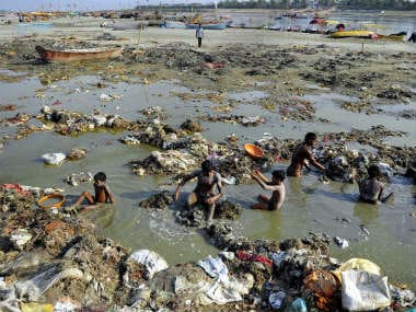 Waste accumulation in the Ganga. AFP
