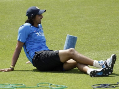India's Ishant Sharma sits down after using a foam roller at the start of a training session the day before the start of the third cricket test match. AP
