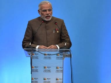 PM Modi during his speech at the BRICS conference. AFP