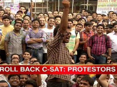 Students protesting against the civil services exam. Image from ibnlive