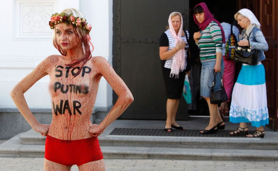 Photos: Activists of Ukrainian womens' rights group stage ...