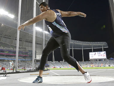Vikas Gowda competes in men's discus throw final. PTI