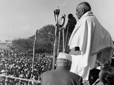 In this 1948 file photo, Sardar Patel is seen speaking at a rally in New Delhi to pay tribute to Mahatma Gandhi. Getty Images