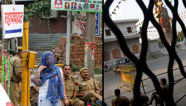 (L) Way to Mahapanchayat venue where communally charged speeches were delivered. (R) (Policemen keeping a vigil near a canal separating tense JJ colony and Bawana village. Naresh Sharma/ Firstpost