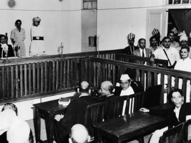 Nathu Ram Godse (bottom right of the picture) on trial for Gandhiji's murder. Getty Images