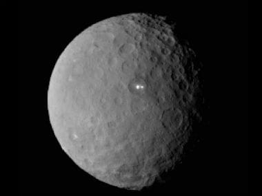 The mysterious lights that have been spotted on the planet Ceres. NASA Image.