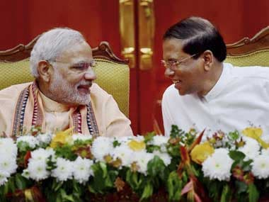 Prime Minister Narendra Modi and the Sri Lanka President Maithripala Sirisena at the Joint Press Statement, in Colombo, Sri Lanka on 13 March 2015. Image courtesy PIB