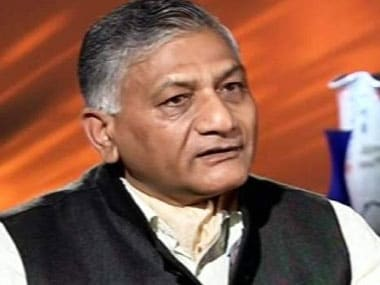 File image of Minister of State for External Affairs VK Singh. IBN Live.