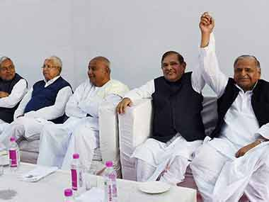 Leaders of the major parties in the latest iteration of the Janata Parivar. PTI
