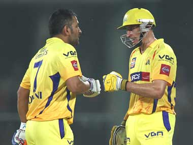 File image of MS Dhoni and Michael Hussey. Image courtesy: BCCI