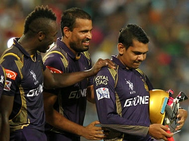 KKR's Andre Russell, Yusuf Pathan and Sunil Narine. Sportzpics