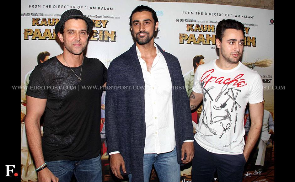 Spotted: Hrithik Roshan, Imran Khan and Kunal Kapoor at screening of Kaun Kitney Paani Mein