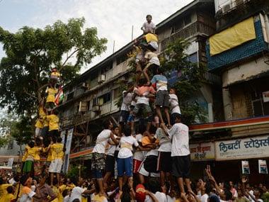 Human pyramid during Dahi Handi festival. AFP