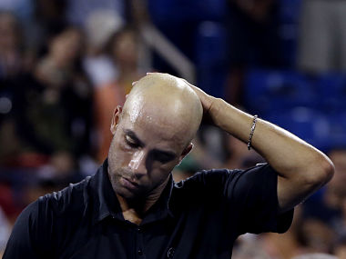 James Blake of the U.S. reacts after losing to Ivo Karlovic of Croatia at the U.S. Open tennis championships in New York