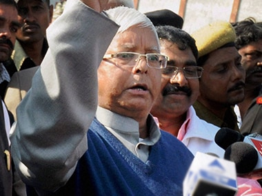 RJD chief Lalu Prasad flexes muscle/ PTI