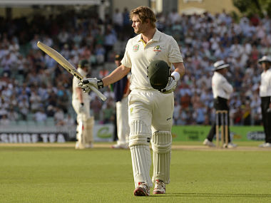 Australia's Watson leaves the field after being dismissed during the fifth Ashes cricket test match against England at The Oval cricket ground, London