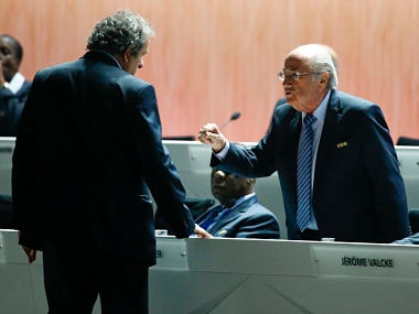 File photo of FIFA President Blatter speaking with UEFA President Platini at the 65th FIFA Congress in Zurich