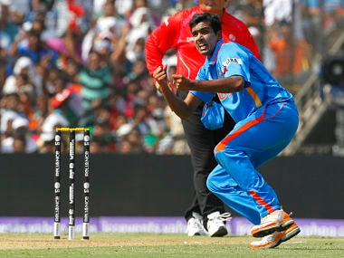 India's Ashwin celebrates taking the wicket of Australia's Watson during their Cricket World Cup 2011 quarter-final match in Ahmedabad